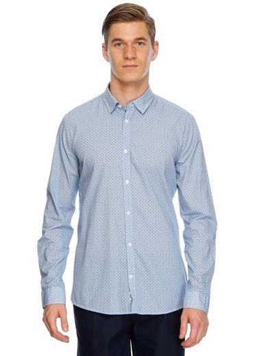 Fabrika Desenli Uzun Kollu Gömlek Mavi
